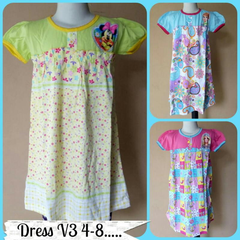 Grosiran Murah di Bandung Grosir Dress V3 Size 4-8 Anak Perempuan Murah Rp.22.500
