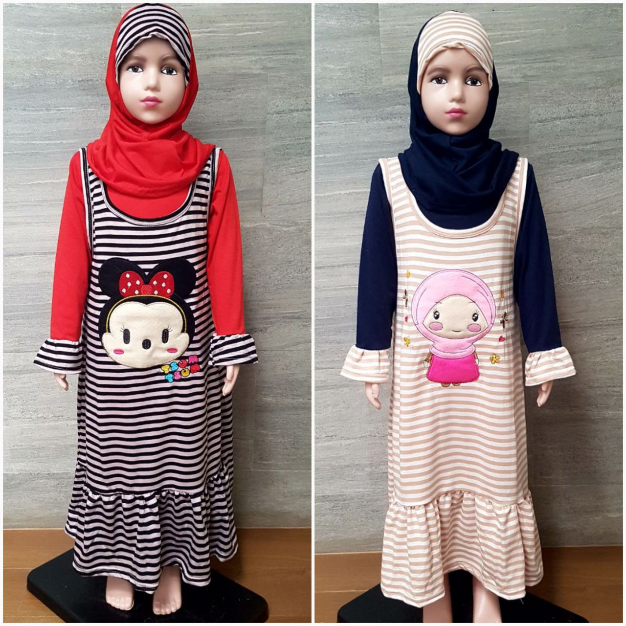 Grosiran Murah di Bandung Grosir Gamis Terry Size 4-8 Anak Perempuan Murah Karakter 35Ribu