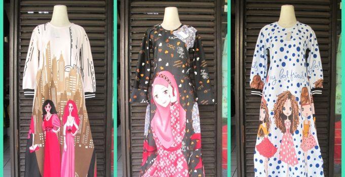 Grosiran Murah di Bandung Supplier Gamis Scuba Anak Tanggung Murah di Bandung 63Ribuan