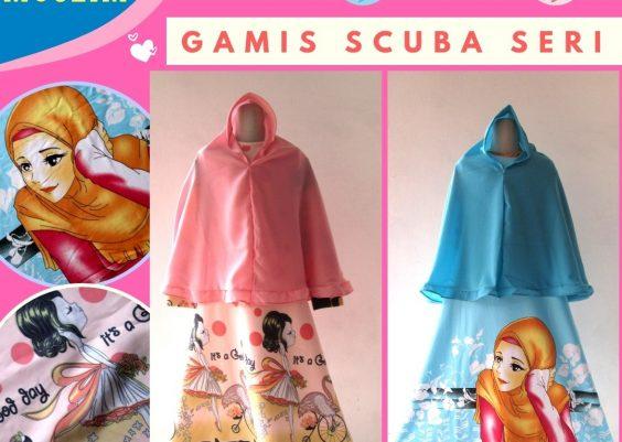 Grosiran Murah di Bandung Distributor Gamis Scuba Seri Anak Perempuan Karakter Murah di Bandung mulai 60Ribuan