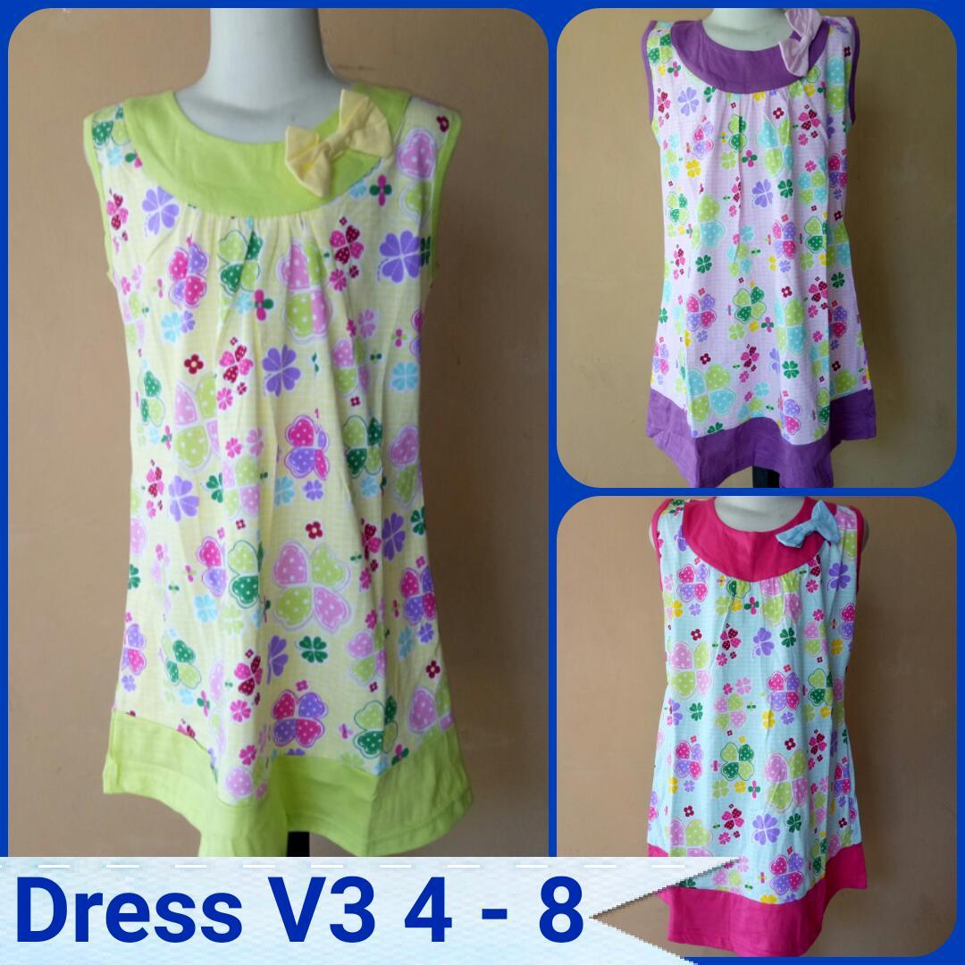 GROSIR PAKAIAN MURAH ONLINE DI BANDUNG Pusat Grosir Dress V3 Size 4-8 Anak Perempuan Termurah Rp.22.500