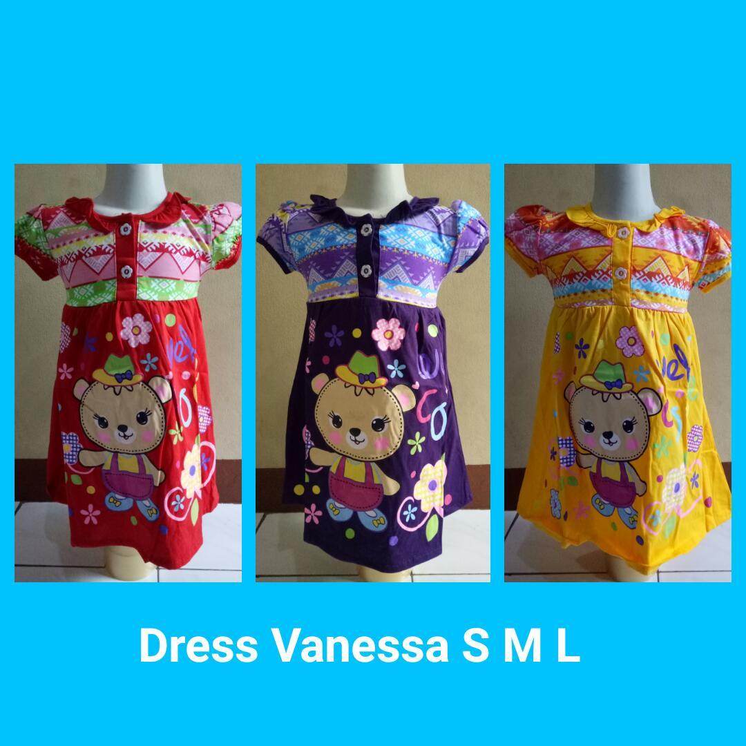 Grosiran Murah di Bandung Sentra Grosir Baju Dress Vanessa Size S M L Anak Perempuan Termurah 23Ribuan
