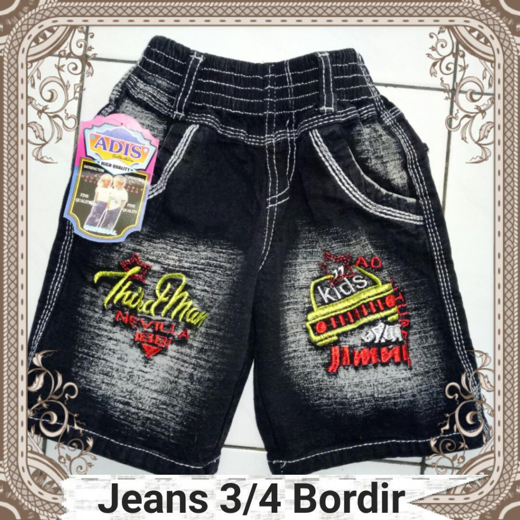 Grosiran Murah di Bandung Pusat Grosir Celana Jeans 3/4 Bordir Anak Laki Laki Branded Murah 25Ribu