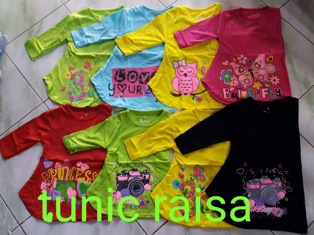 Grosiran Murah di Bandung Grosir Baju Tunic Raisa Anak Perempuan Termurah Rp.17.500