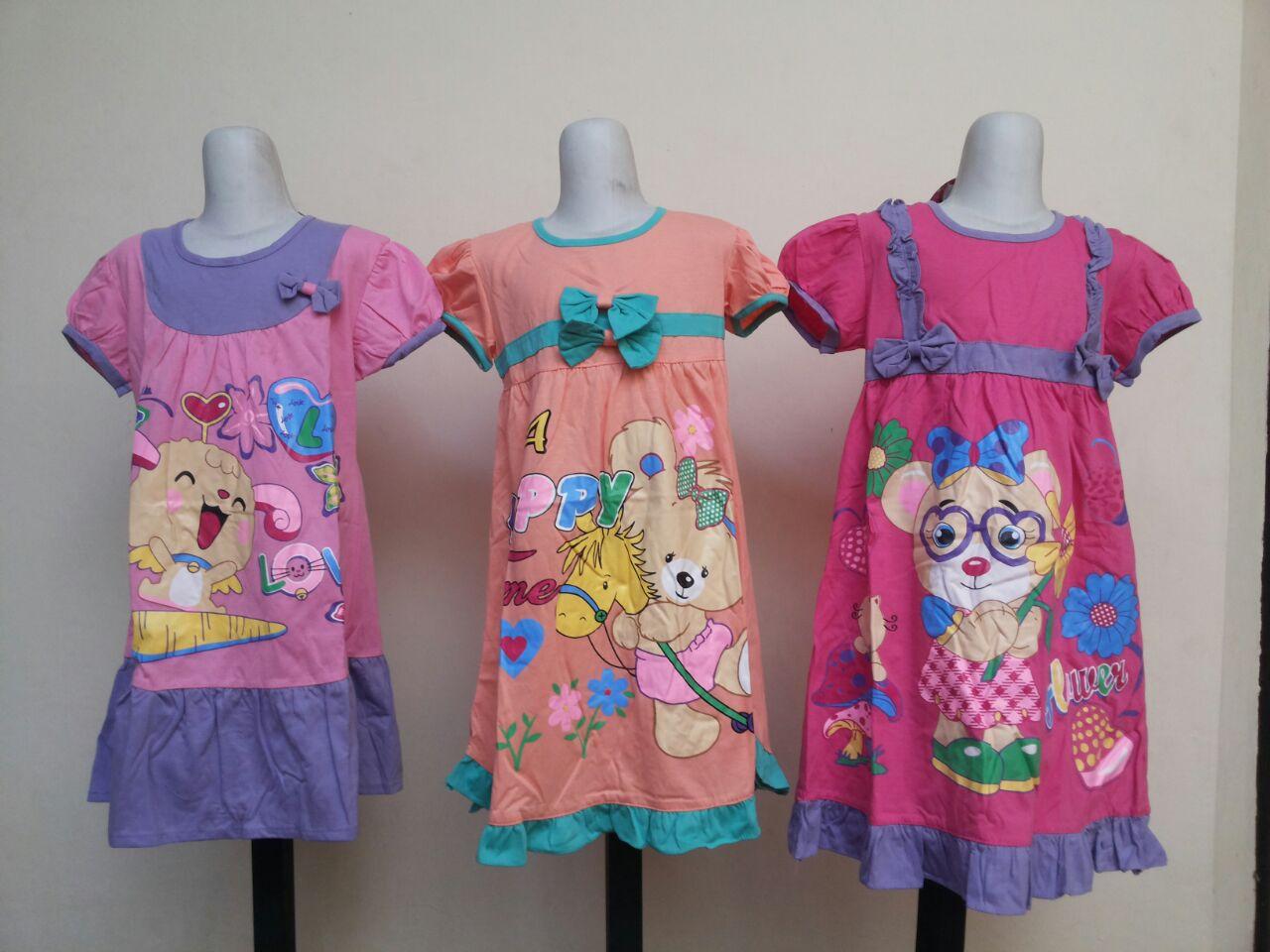 Grosiran Murah di Bandung Pusat Grosir Dress Vanessa Karakter Anak Perempuan Murah 25Ribu