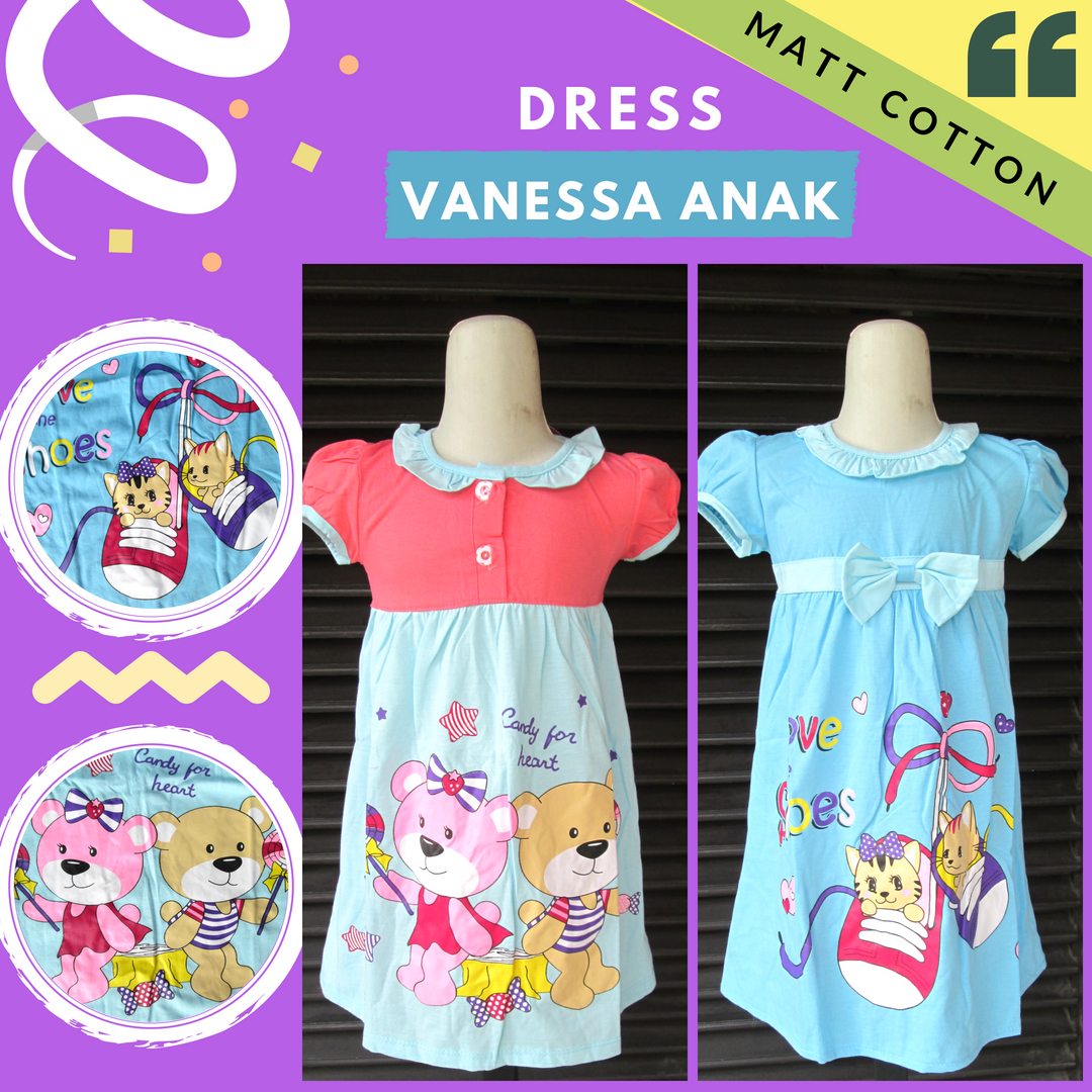 Grosiran Murah di Bandung Distributor  Dress Vanessa Anak Perempuan Murah Bandung Rp.23.500