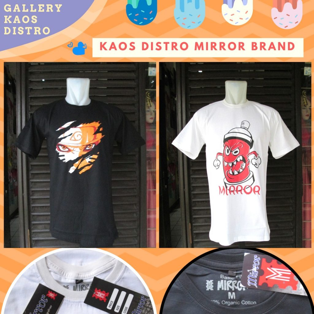 Grosiran Murah di Bandung Grosir Kaos Distro Mirror Brand Dewasa Murah di Bandung 34Ribu