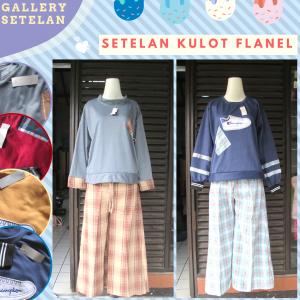 Supplier Setelan Kulot Flanell Wanita Dewasa Murah di Bandung