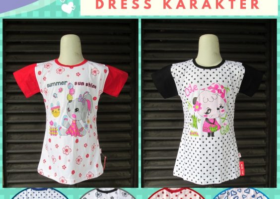 Grosiran Murah di Bandung Supplier Dress Karakter Anak Perempuan Terbaru Murah di Bandung 12Ribu