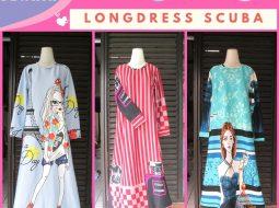 Grosiran Murah di Bandung Konveksi Long Dress Scuba Dewasa Termurah di Bandung 88Ribuan