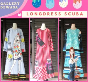 Distributor Long Dress Scuba Dewasa Murah di Bandung