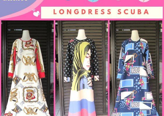 Grosiran Murah di Bandung Distributor Longdress Scuba Motif Terbaru Murah di Bandung 88Ribuan
