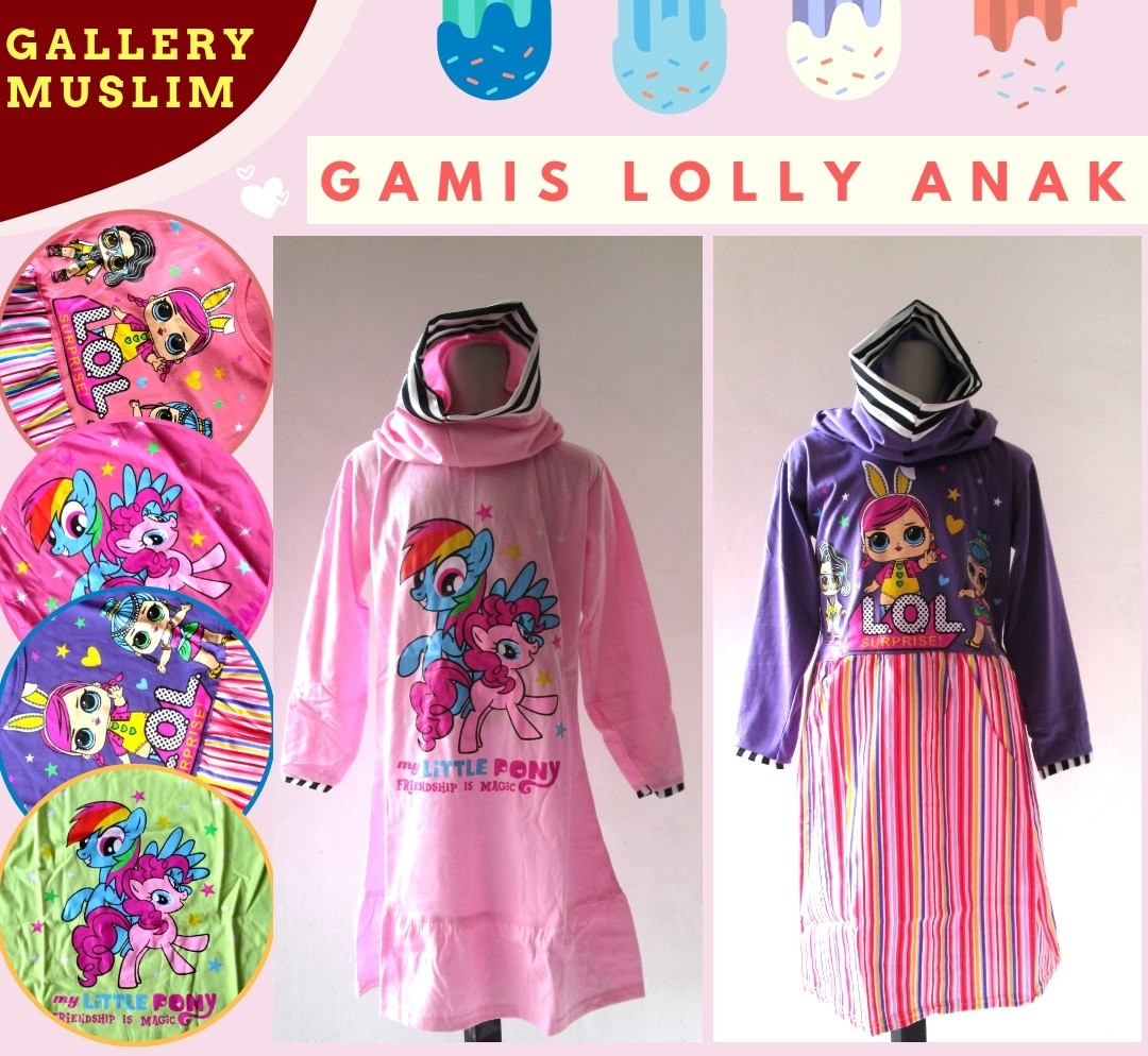 GROSIR PAKAIAN MURAH ONLINE DI BANDUNG Distributor Gamis Lolly Anak Perempuan Karakter Murah di Bandung Mulai 26Ribuan