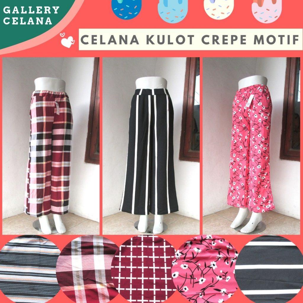 Grosiran Murah di Bandung Produsen Celana Kulot Crepe Motif Dewasa Terbaru Murah di Bandung 29Ribuan