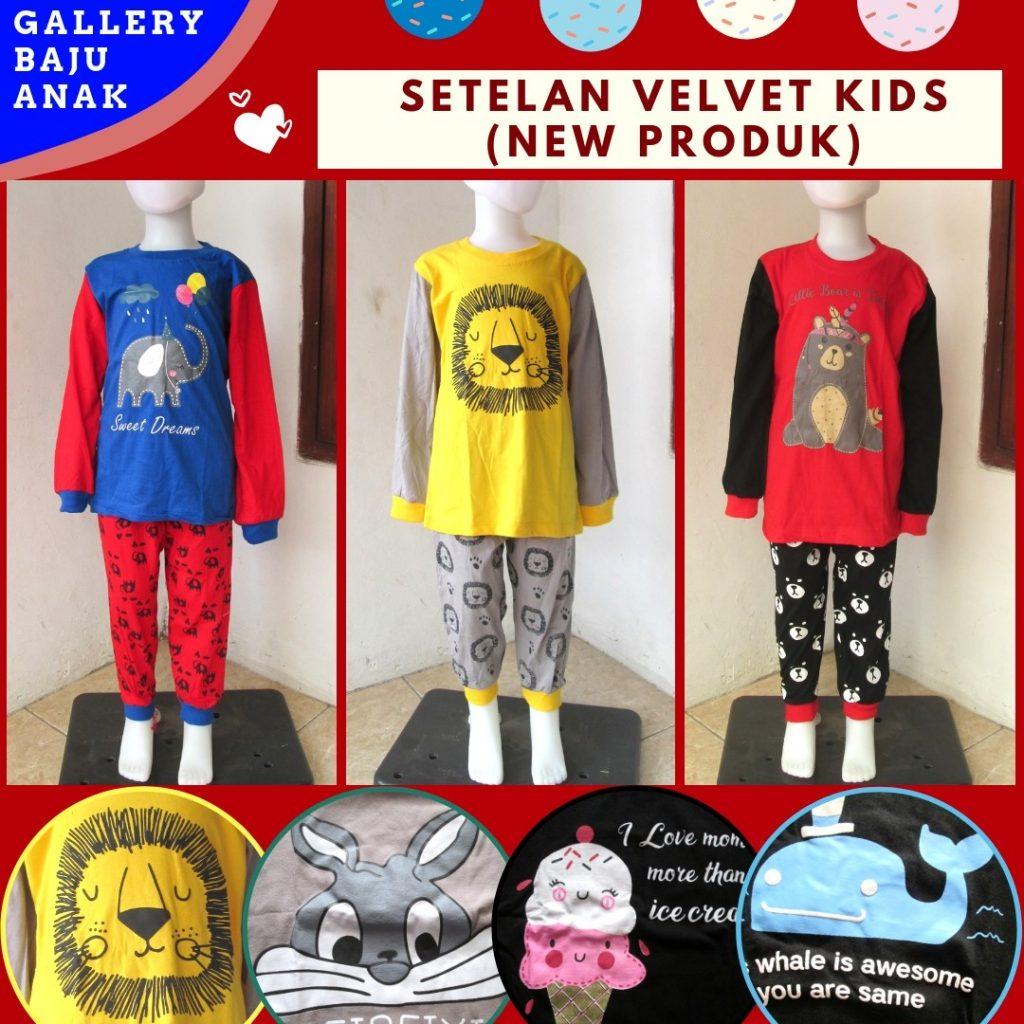 Grosiran Murah di Bandung Supplier Setelan Velvet Kids Karakter Murah di Bandung Hanya 36RIBUAN