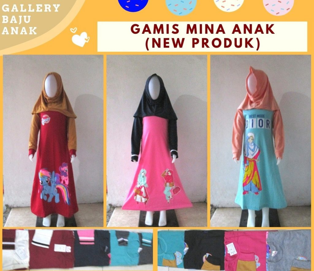 Grosiran Murah di Bandung Distributor Gamis Mina Anak Perempuan Karakter Termurah Mulai 31RIBUAN