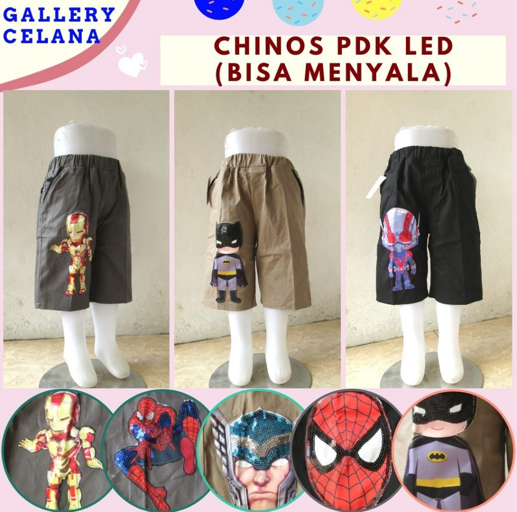 Grosiran Murah di Bandung Supplier Celana Chino LED Anak Laki Laki Bisa Menyala Murah Mulai 36RIBUAN