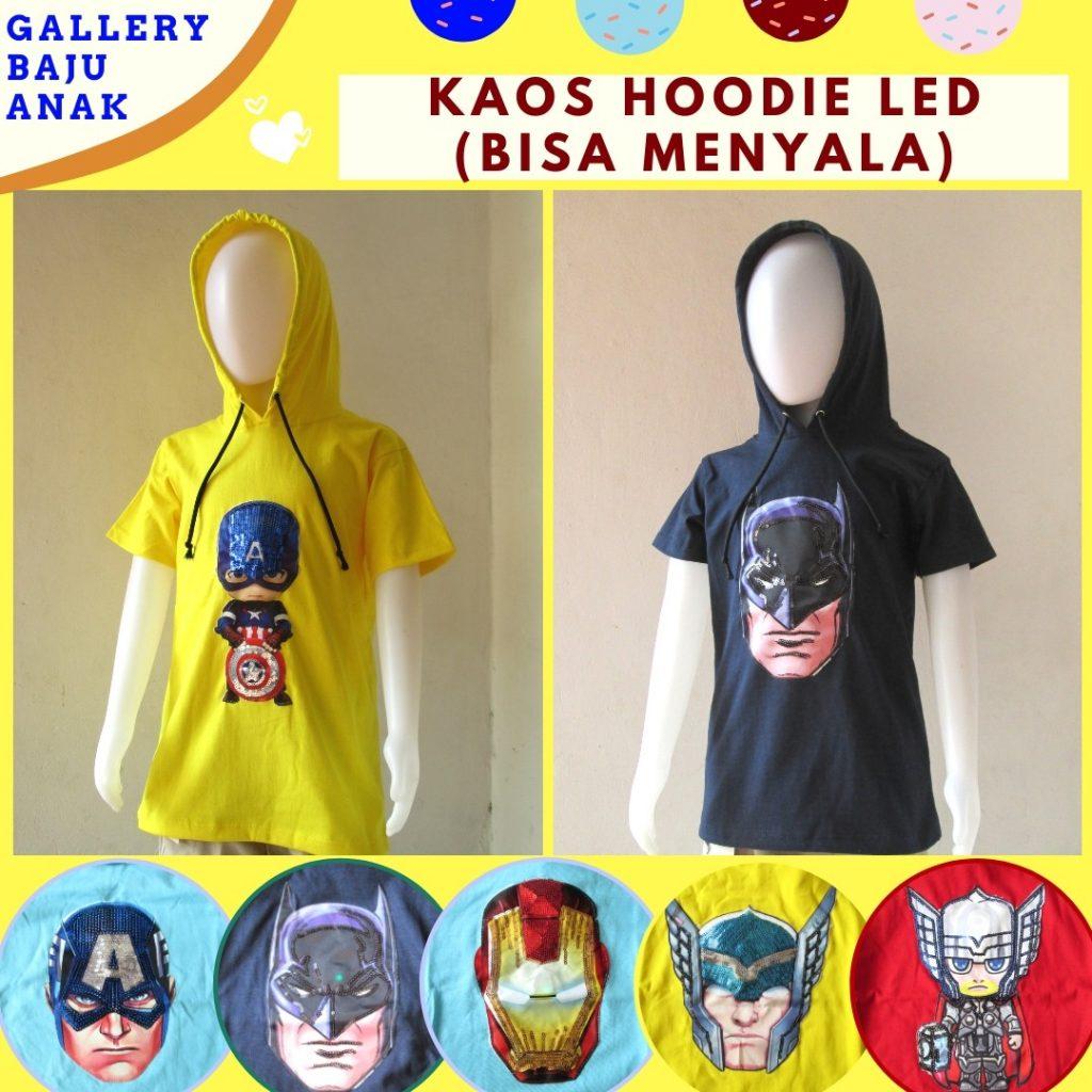 Grosiran Murah di Bandung Pabrik Kaos Hoodie LED Anak Laki Laki Karakter Bisa Menyala Murah Hanya 31RIBUAN