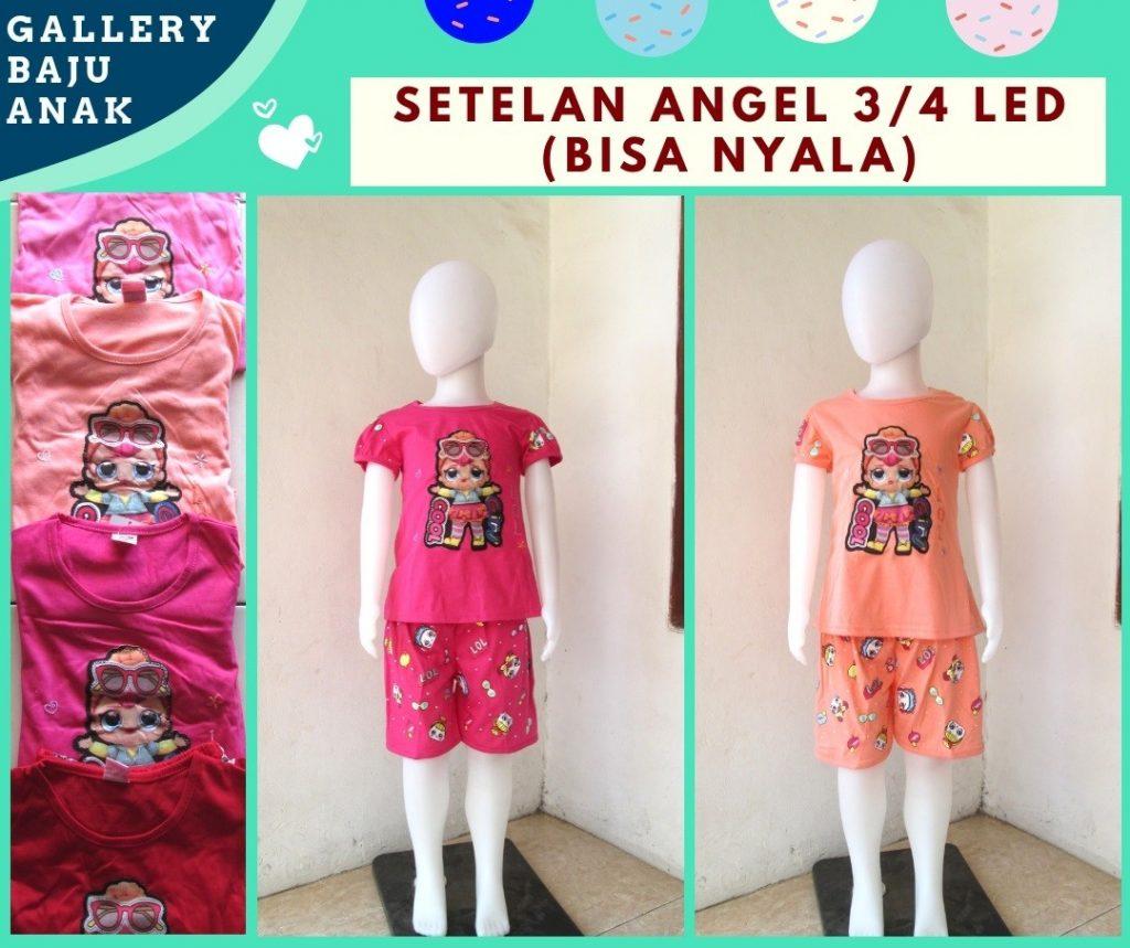 Grosiran Murah di Bandung Reseller Setelan Angel 3/4 LED Anak Perempuan Karakter Bisa Menyala Murah Hanya Rp.31.000