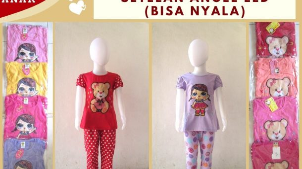 Grosiran Murah di Bandung Pabrik Setelan Angel LED Karakter Anak Perempuan Bisa Menyala Murah di Bandung Mulai 32RIBUAN