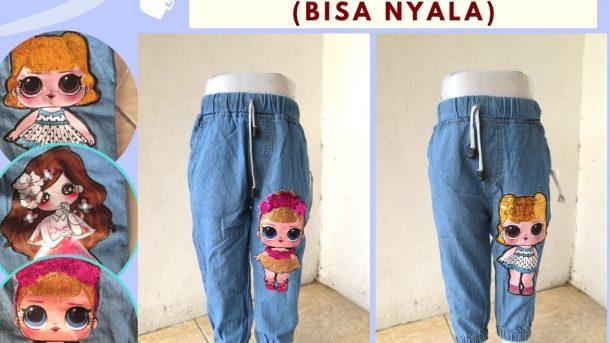 Grosiran Murah di Bandung Konveksi Celana Jogger LUNA LED Anak Perempuan Murah di Bandung 41RIBUAN