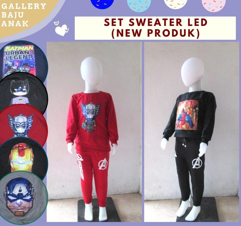 Grosiran Murah di Bandung Sentra Grosir Setelan Sweater LED Anak Karakter Bisa Menyala Murah di Bandung hanya 39RIBUAN