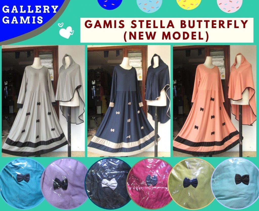 Grosiran Murah di Bandung Reseller Gamis Stella Butterfly Syar'i Wanita Dewasa Termurah di Bandung 88RIBUAN