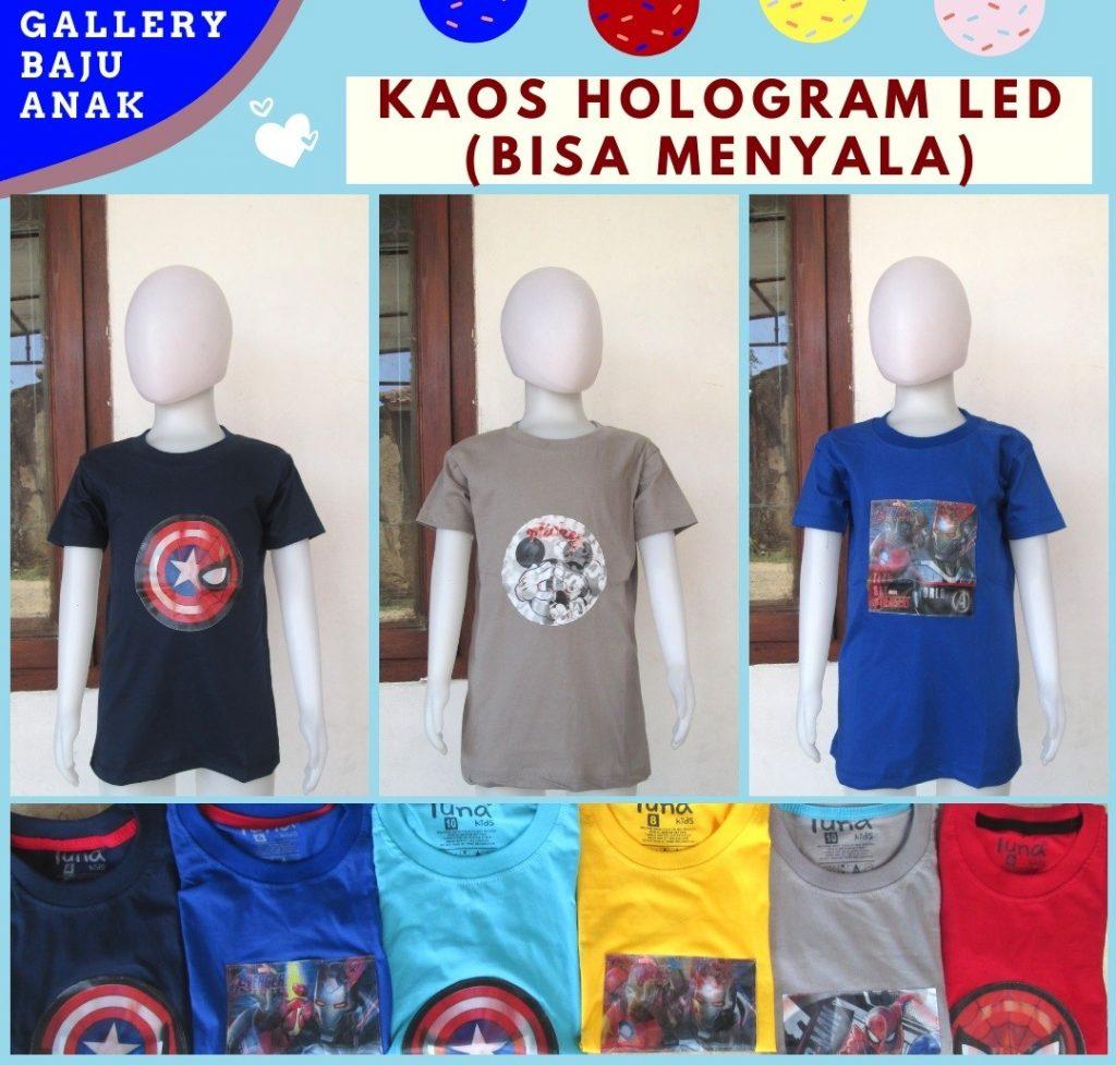 Grosiran Murah di Bandung Supplier Kaos Hologram LED Anak Laki Laki Karakter Bisa Menyala Termurah di Bandung 30RIBUAN
