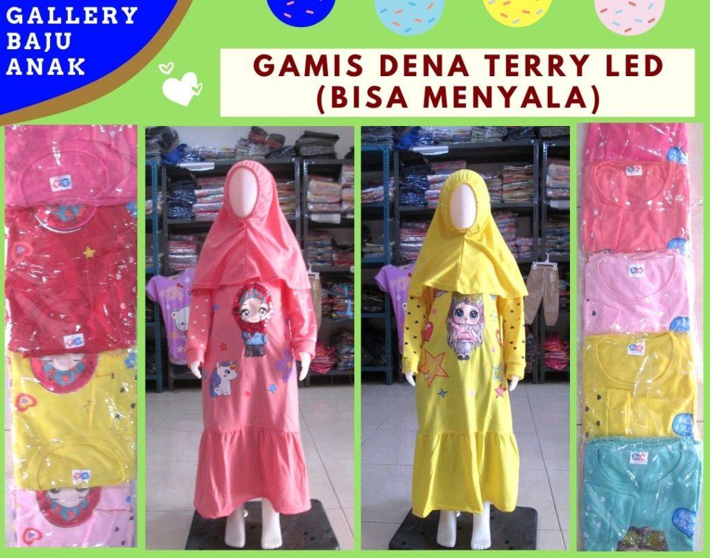 GROSIR PAKAIAN MURAH ONLINE DI BANDUNG Distributor Gamis Dena Terry LED Anak Perempuan Karakter Murah di Bandung 47RIBUAN