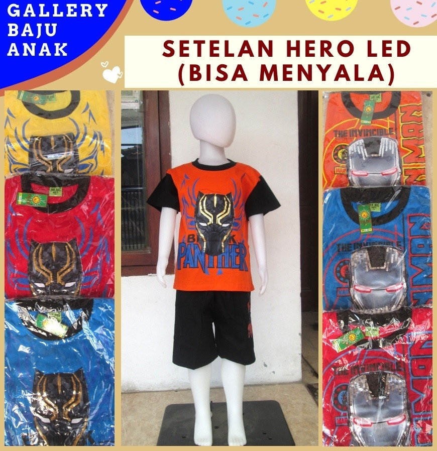 Grosiran Murah di Bandung Produsen Setelan Hero LED Anak Laki Laki Karakter Bisa Menyala Murah di Bandung Mulai 33RIBUAN
