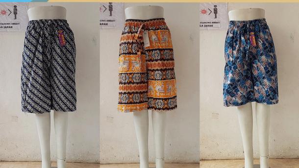 GROSIR PAKAIAN MURAH ONLINE DI BANDUNG Distributor Celana Kulot Motif 3/4 di Bandung Rp 28,000