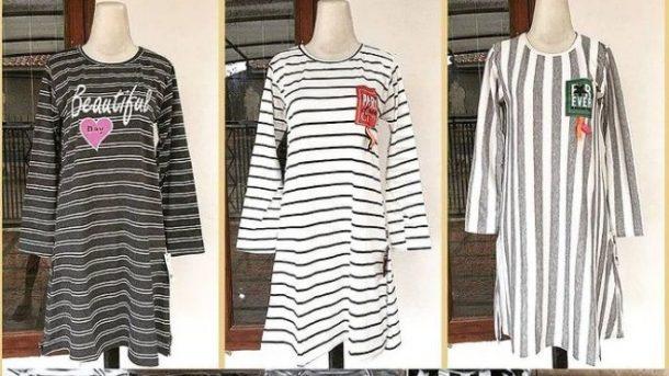 GROSIR PAKAIAN MURAH ONLINE DI BANDUNG Grosir Dress Salur Dewasa di Bandung Rp 24,000