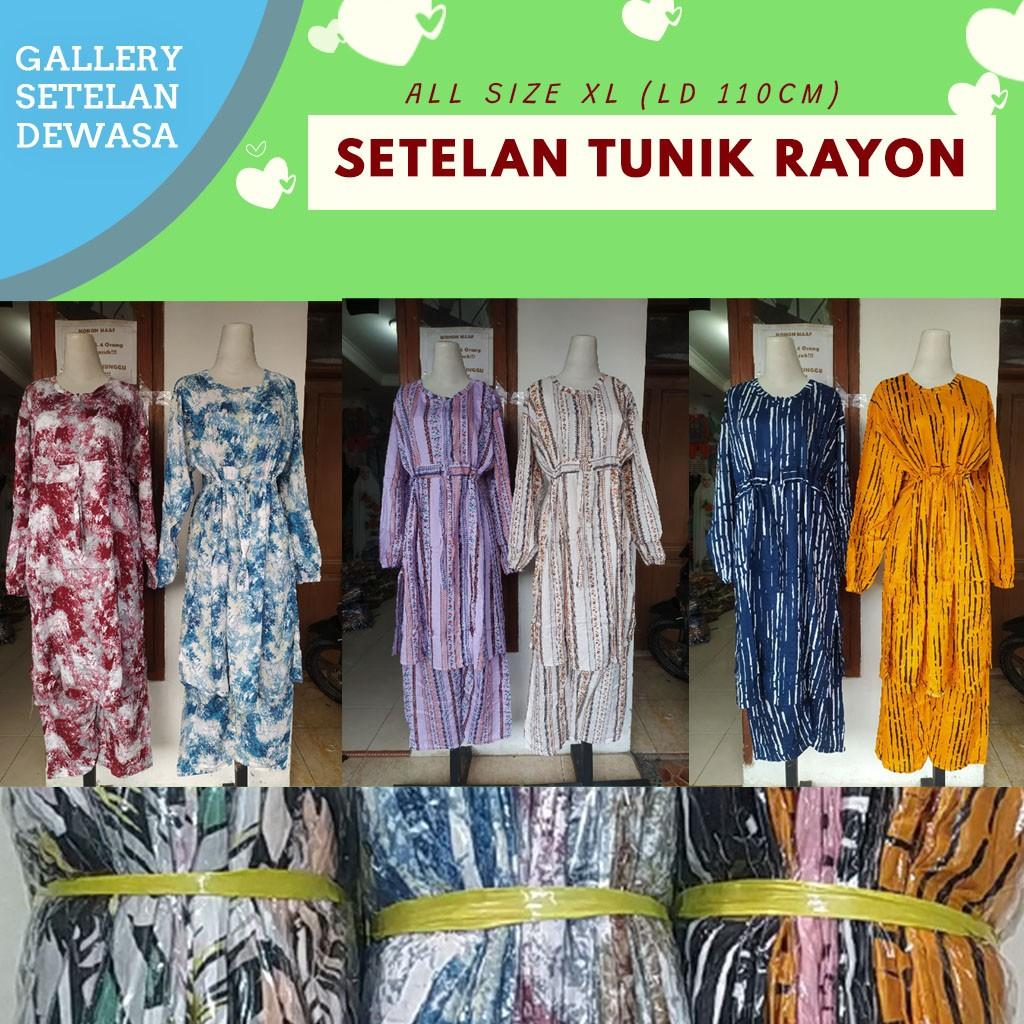 GROSIR PAKAIAN MURAH ONLINE DI BANDUNG Grosir Setelan Tunik Rayon di Bandung Rp 70000